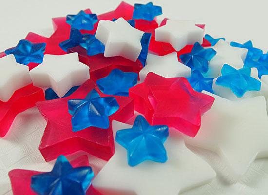 red, white, blue stars ready to assemble!