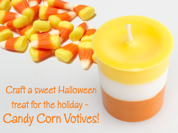 craft a sweet halloween treat - candy corn votives!