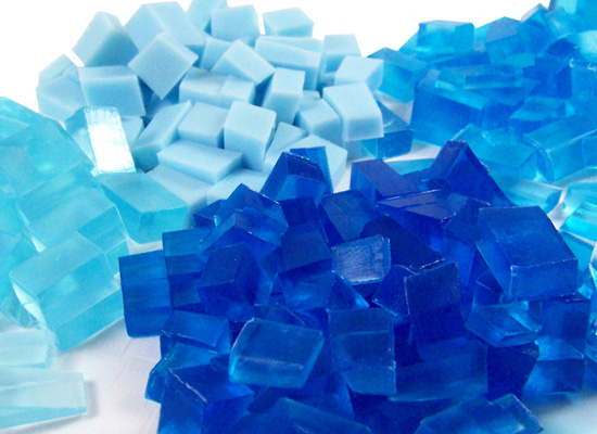 blue chunks ready for soap