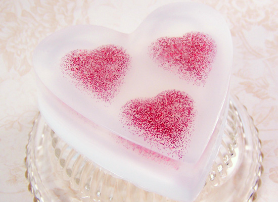 floating hearts soap - perfect for Mother's Day!