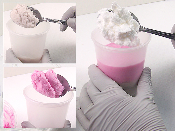 scoop colors into tub to create layers