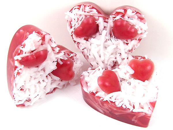 finished heart soap