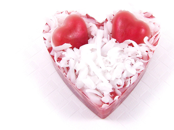 heart soap with shreds and mini hearts