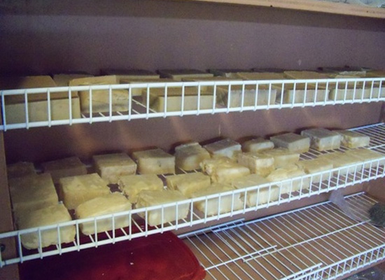 soap curing on shelves