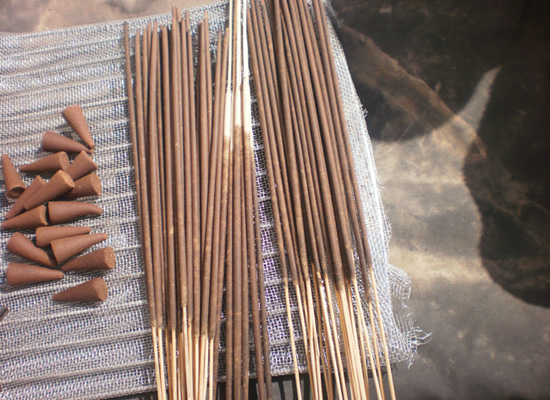small batch of incense sticks
