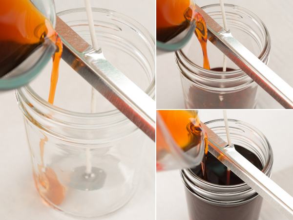 pour wax into wicked jars