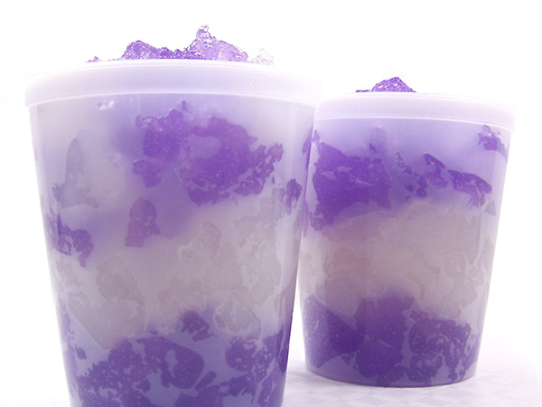 alternate layers of purple and white jelly soap