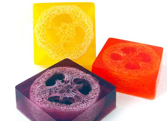 loofah soap squares