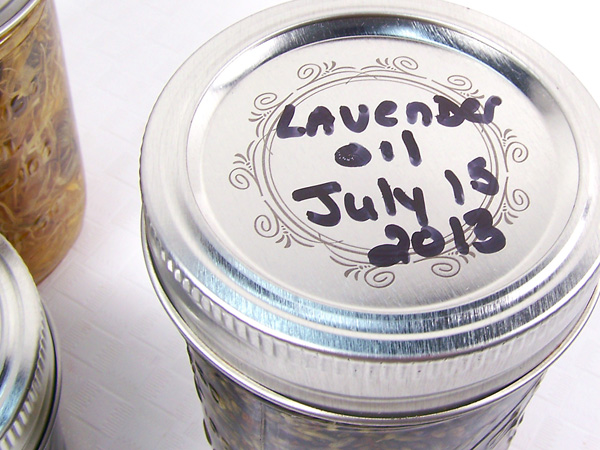 label the jar with herb, oil, date