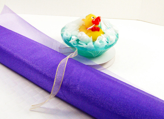 use organza wrap for odd shaped soaps, like the rubber ducky soap
