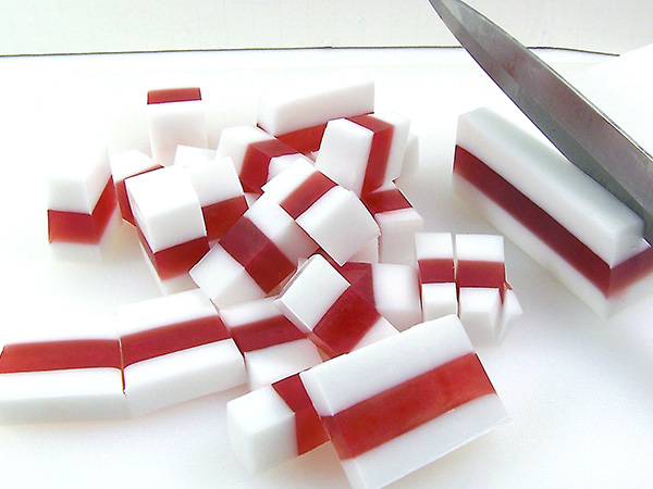 remove soap from mold and cut candy size pieces