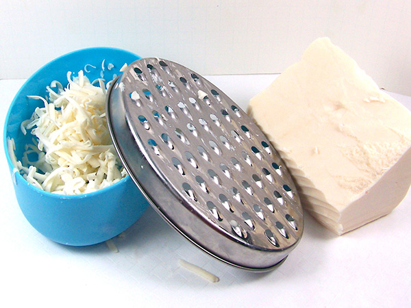 grate the rebatch soap base
