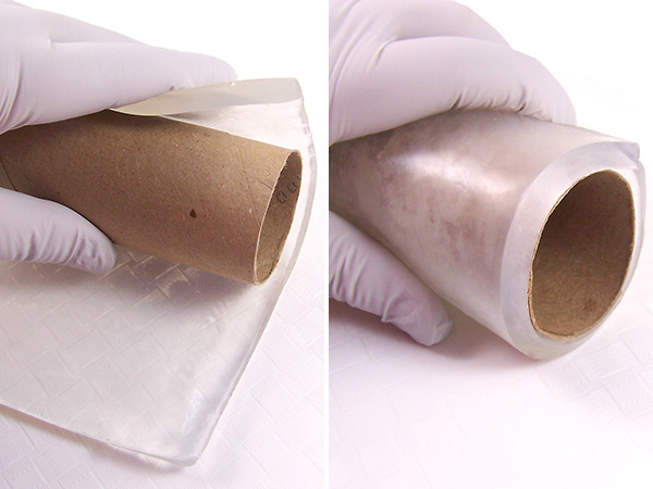 mold soap around paper towel roll and hold in place