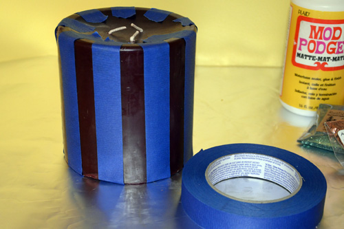 tape candle with painter's tape