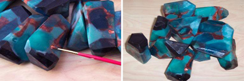 make gemstone soap rocks