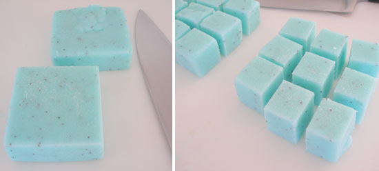sugar scrub cubes: cut into pieces