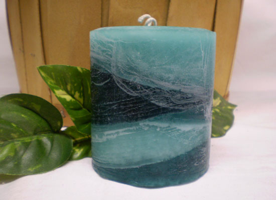 rustic tilted layered pillar candle
