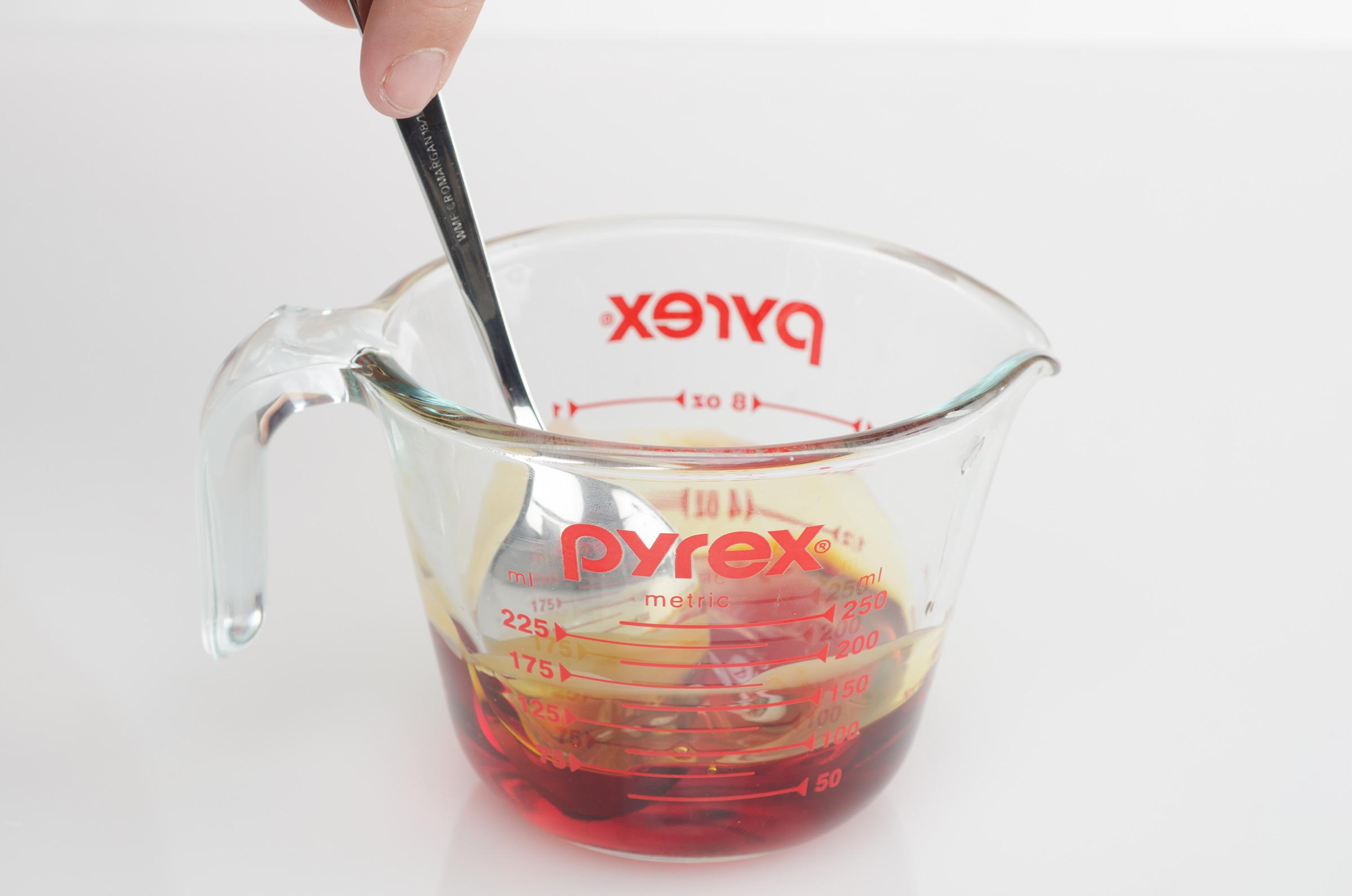 stir fragrance oil into wax