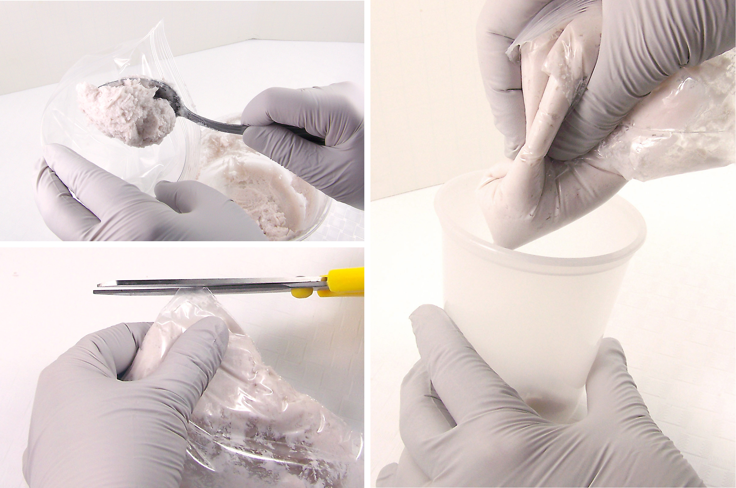 use plastic bag to squeeze mixture into tub