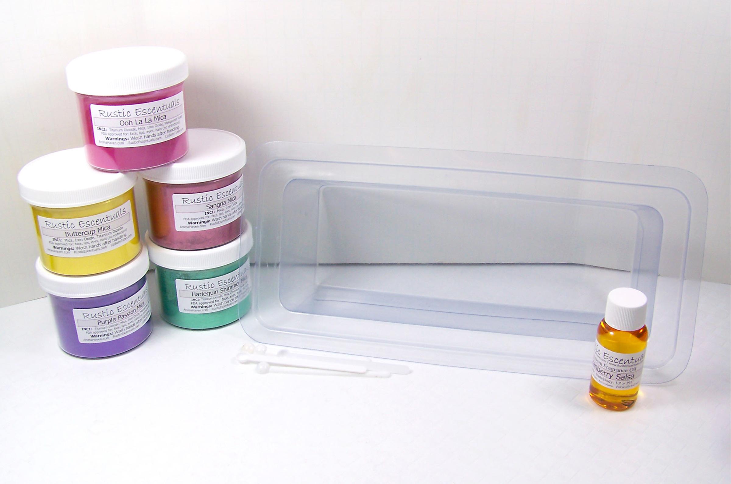 mica colorants, fragrance oil, soap mold