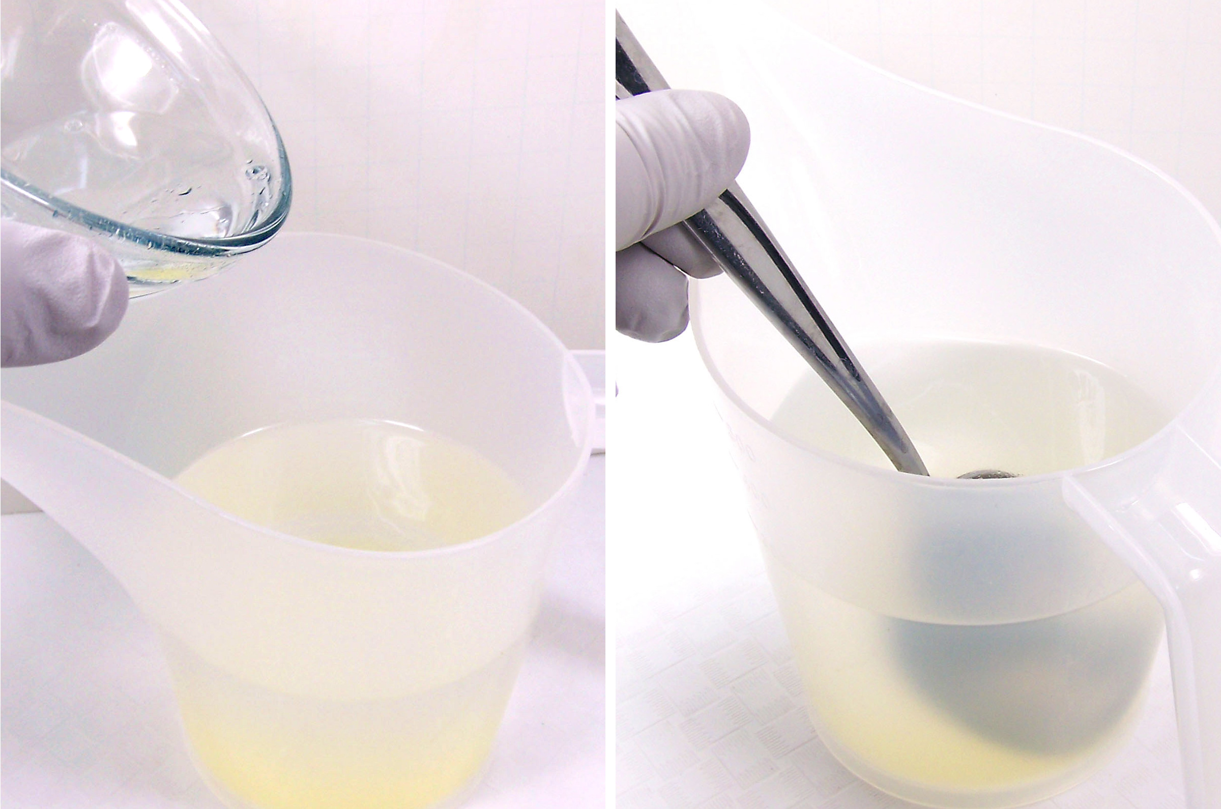 pour perfume base into cyclomethicone and stir