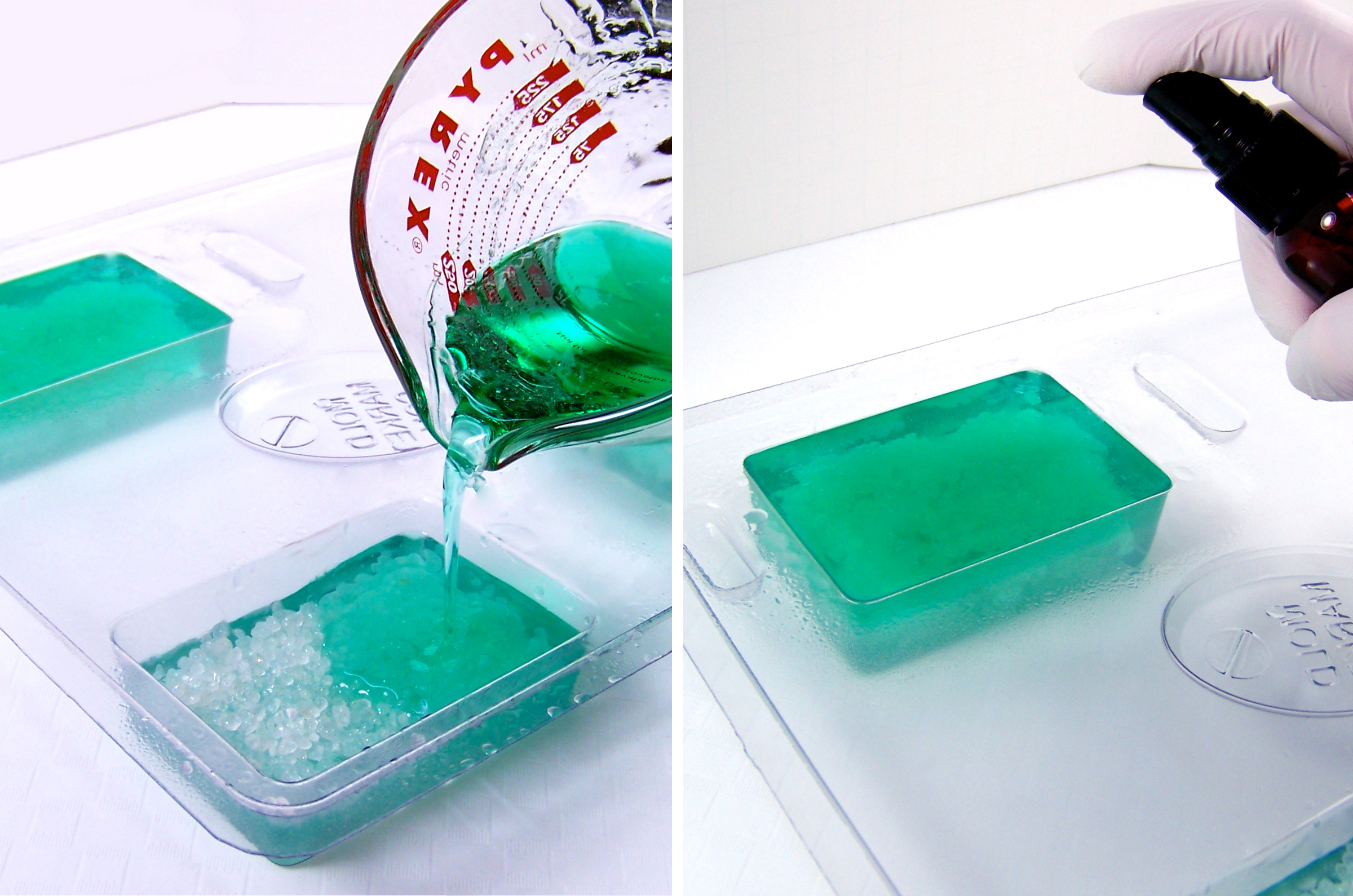 pour last layer of soap into mold cavities and spritz with alcohol to remove bubbles