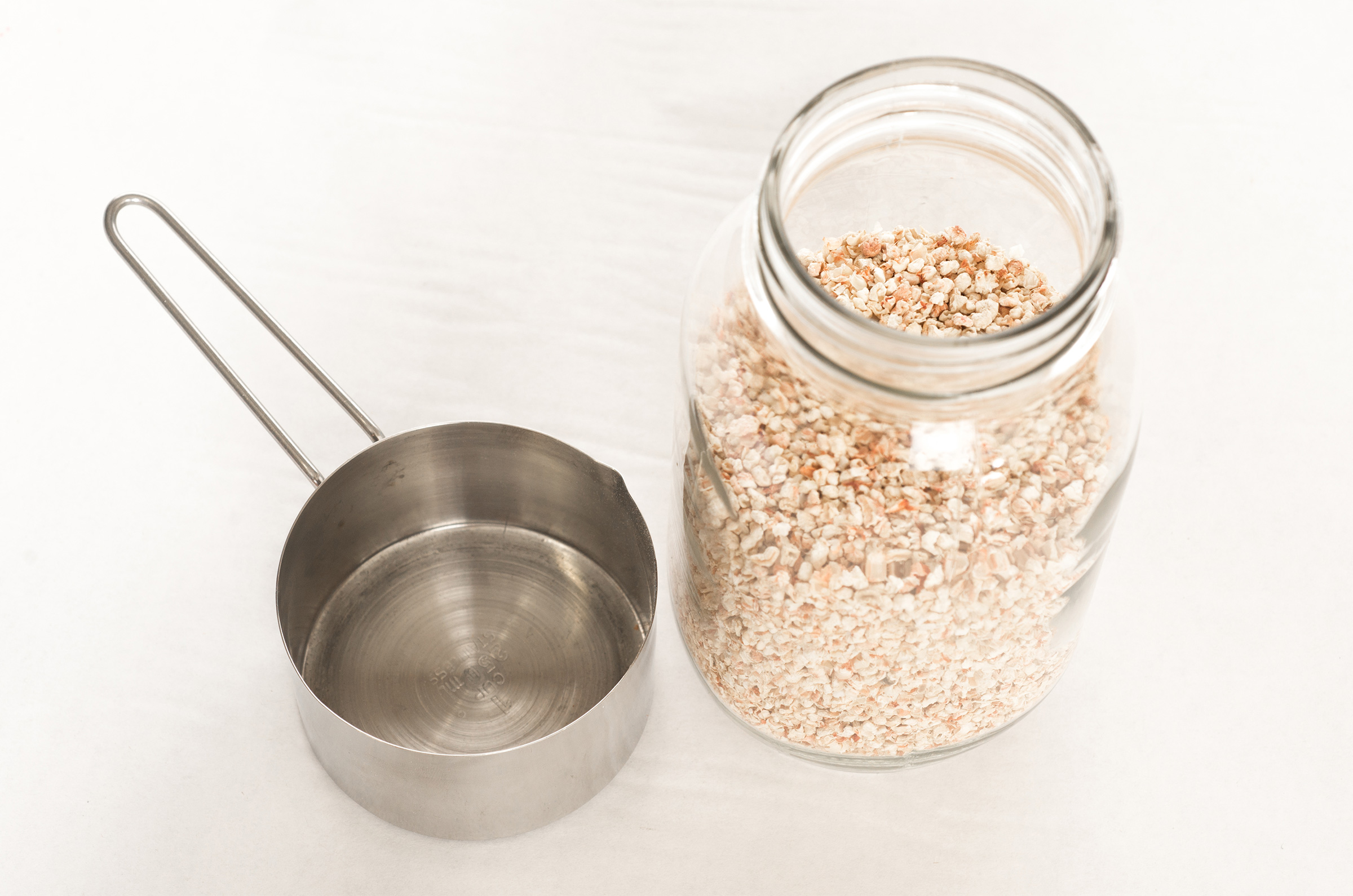 measure sachet base and pour in jar