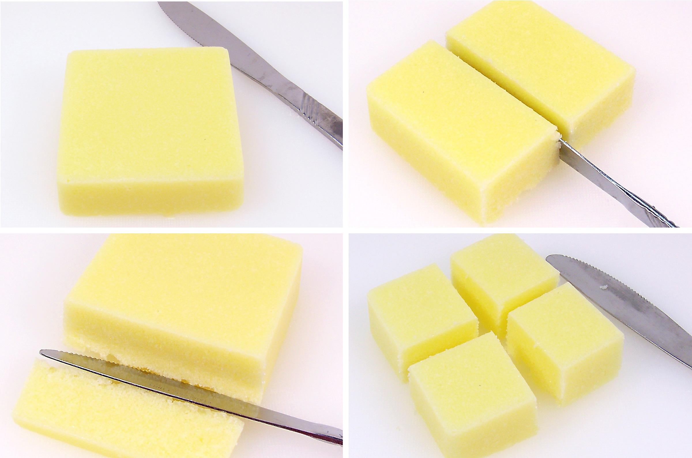 remove, trim, cut into 4 pieces