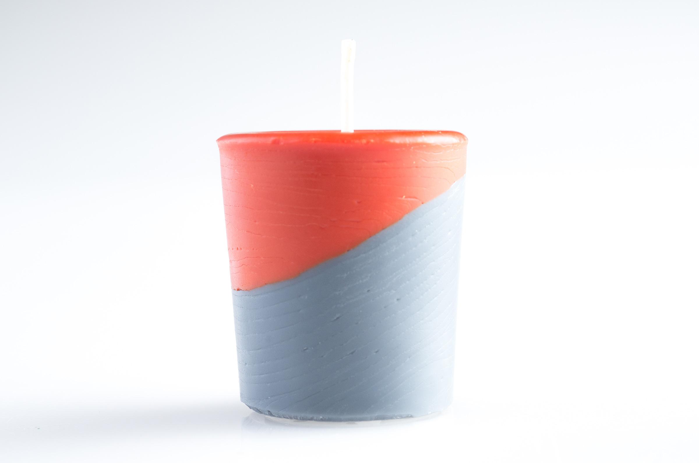 finished tilted votive candle